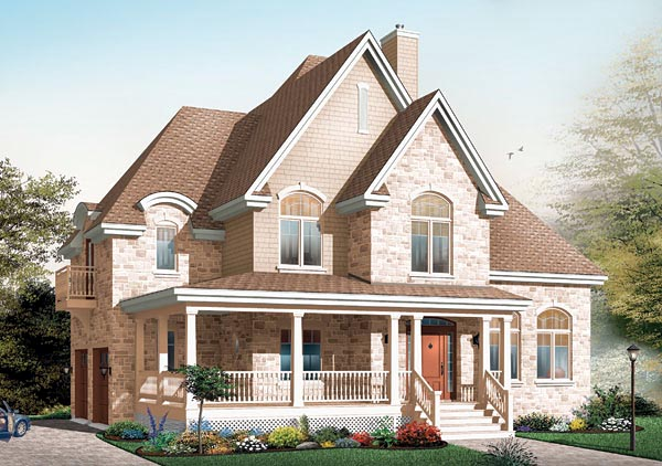 Victorian House Plan 64802 with 4 Beds, 3 Baths, 2 Car Garage Front Elevation