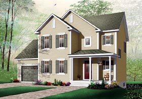 House Plan 64804   Traditional Style Plan with 1485 Sq Ft, 3 Bedrooms, 2 Bathrooms, 1 Car Garage Elevation