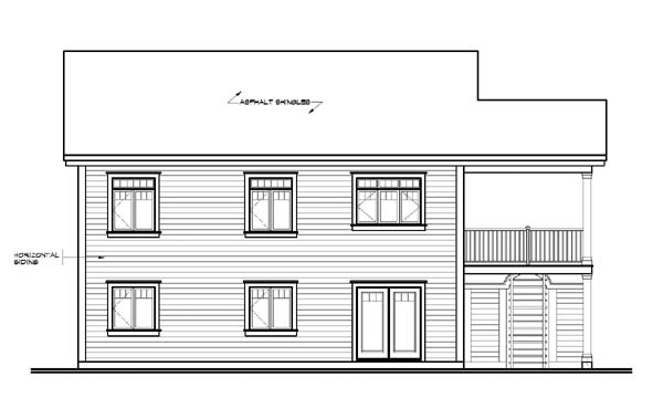 Traditional , Rear Elevation of Plan 64806