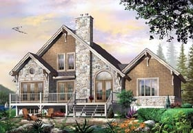 Traditional , European , Craftsman , Country , Coastal House Plan 64810 with 3 Beds, 3 Baths, 1 Car Garage Elevation