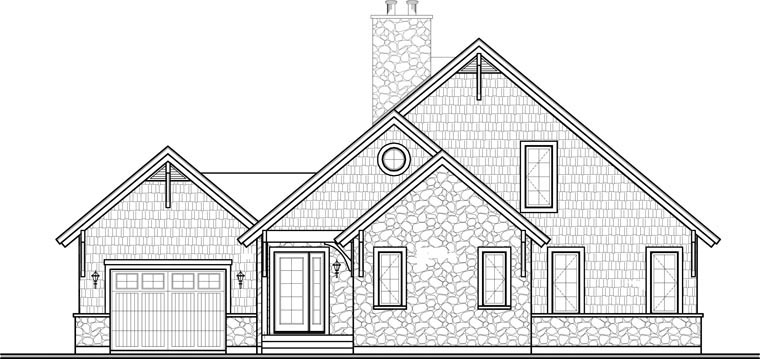 Traditional , European , Craftsman , Country , Coastal House Plan 64810 with 3 Beds, 3 Baths, 1 Car Garage Rear Elevation