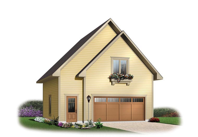 2 Car Garage Apartment Plan 64816 with 1 Beds, 1 Baths Front Elevation