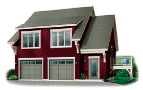 Craftsman 2 Car Garage Apartment Plan 64817 with 2 Beds, 1 Baths Elevation