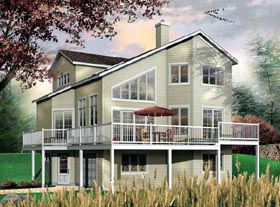 House Plan 64818 | Contemporary Style House Plan with 1737 Sq Ft, 3 Bed, 2 Bath, 1 Car Garage Elevation