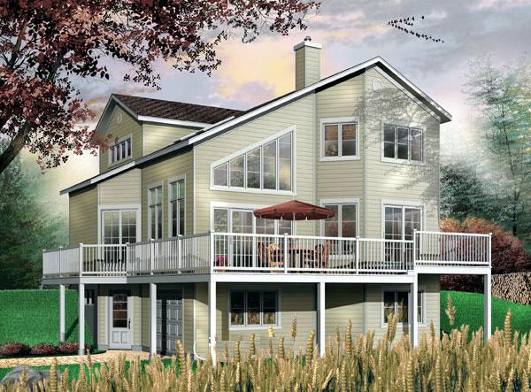 Contemporary, Narrow Lot House Plan 64818 with 3 Beds, 2 Baths, 1 Car Garage Elevation