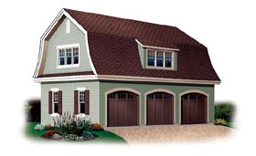 3 Car Garage Plan 64821 Elevation
