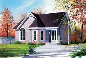 Victorian House Plan 64822 with 2 Beds, 1 Baths Elevation