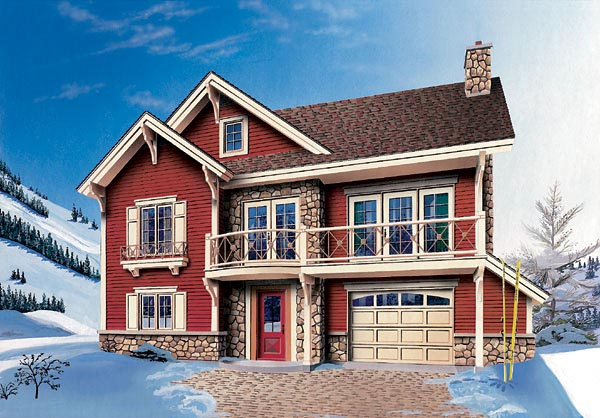 Craftsman, Narrow Lot, Tudor House Plan 64824 with 3 Beds , 2 Baths , 1 Car Garage Elevation