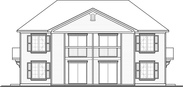 Colonial Multi-Family Plan 64825 Rear Elevation
