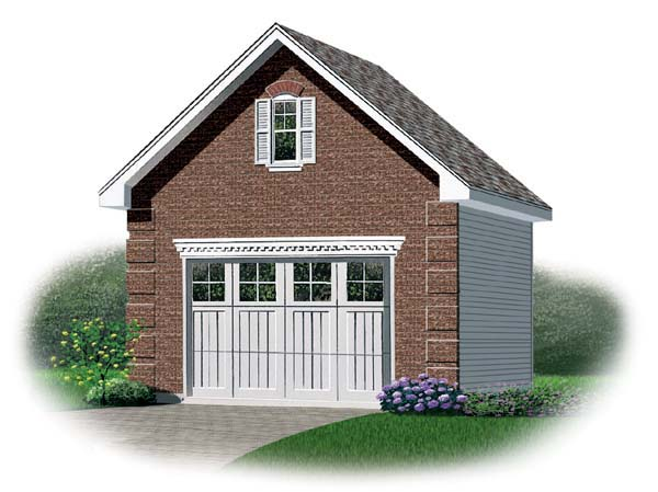 1 Car Garage Plan 64829 Elevation