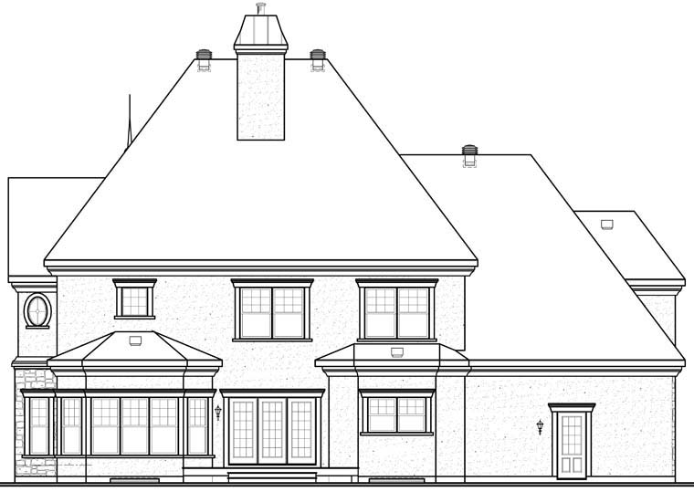 European House Plan 64847 Rear Elevation