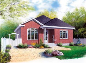 House Plan 64850 | Bungalow Style Plan with 1131 Sq Ft, 3 Bedrooms, 1 Bathrooms Elevation