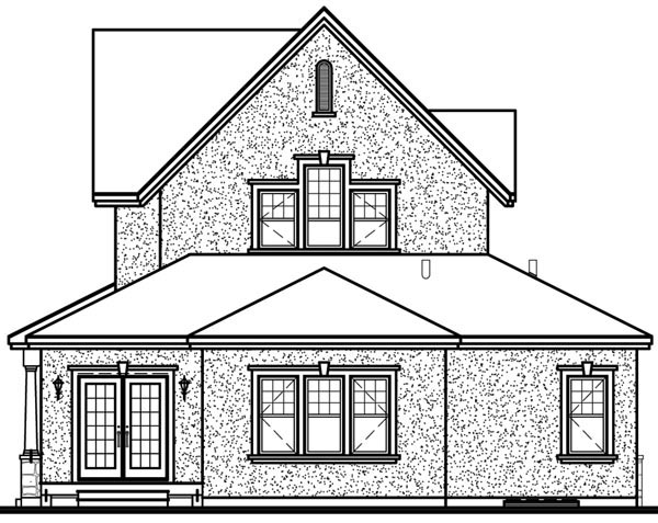 European House Plan 64851 Rear Elevation