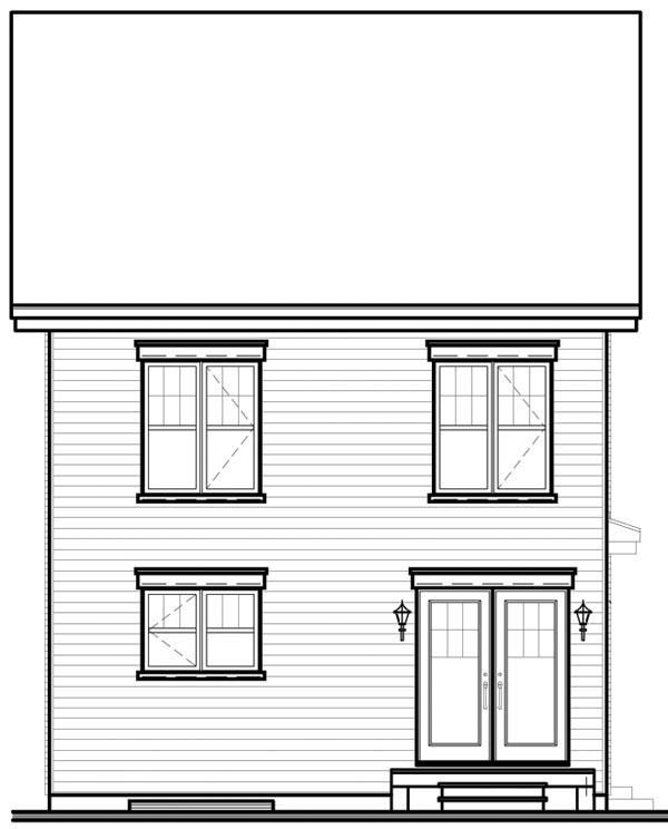 European House Plan 64852 Rear Elevation
