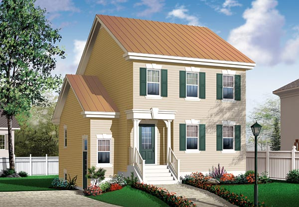 Narrow Lot, Traditional House Plan 64856 with 3 Beds, 2 Baths Front Elevation