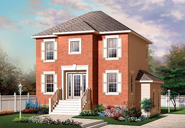 European, Narrow Lot, Traditional House Plan 64861 with 4 Beds, 3 Baths Elevation