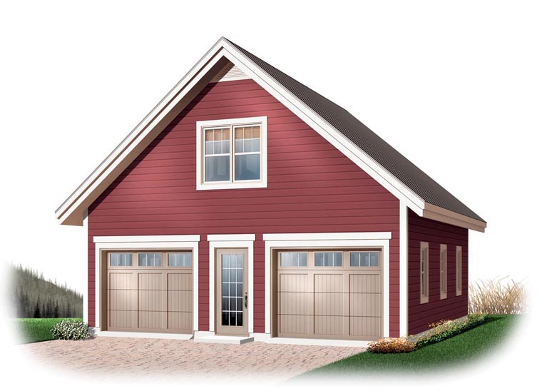2 Car Garage Plan 64868 Elevation