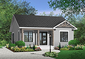 Traditional , Country House Plan 64885 with 2 Beds, 1 Baths Elevation