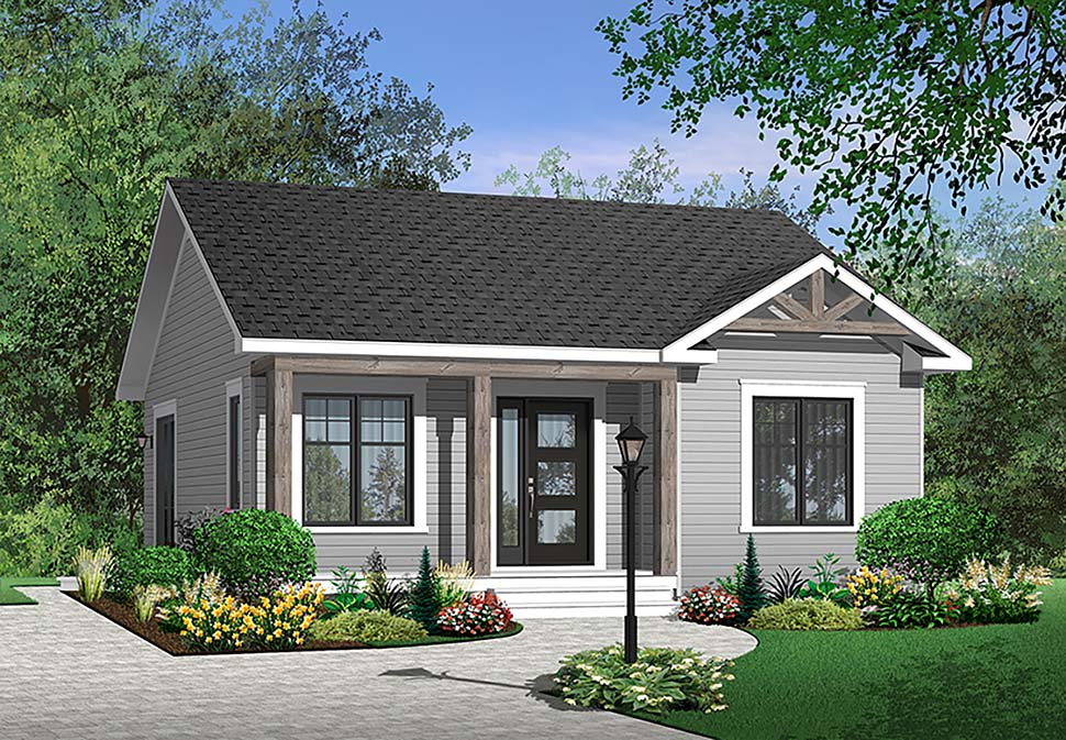 Country, Traditional House Plan 64885 with 2 Beds, 1 Baths Elevation