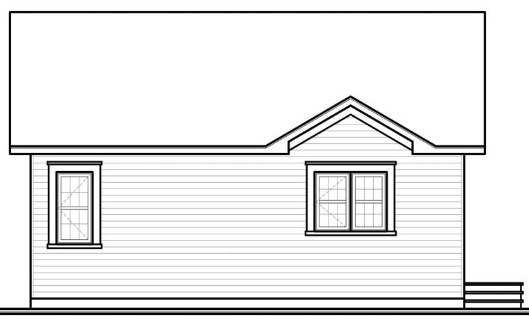 Traditional , Country House Plan 64885 with 2 Beds, 1 Baths Rear Elevation