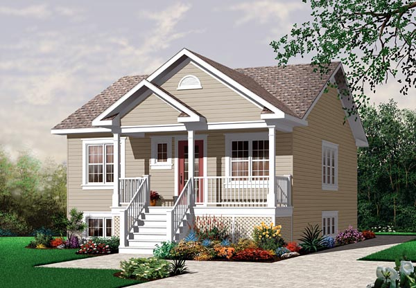 Bungalow Country Narrow Lot One-Story Elevation of Plan 64887