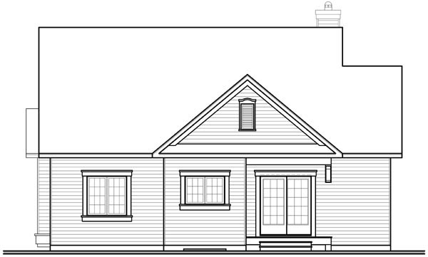 Bungalow Country House Plan 64888 Rear Elevation