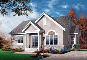 House Plan 64889 | Bungalow Craftsman European Style Plan with 1068 Sq Ft, 2 Bedrooms, 1 Bathrooms Elevation