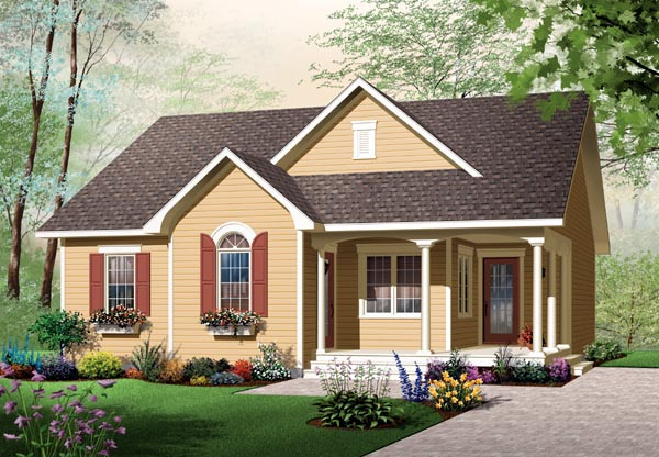 Bungalow, Country, Narrow Lot, One-Story House Plan 64890 with 2 Beds, 1 Baths Front Elevation