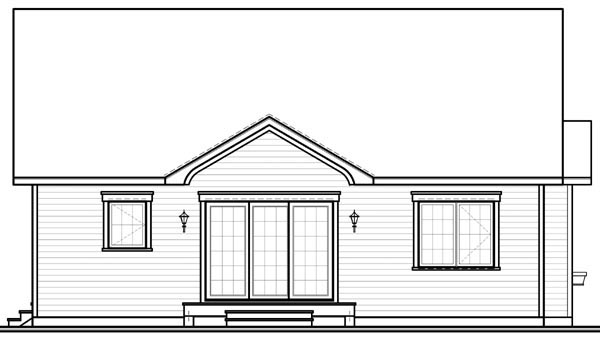 Bungalow, Country, Narrow Lot, One-Story House Plan 64890 with 2 Beds, 1 Baths Rear Elevation