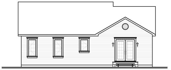 Bungalow Colonial Traditional House Plan 64891 Rear Elevation