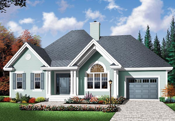 Bungalow, Country, One-Story House Plan 64894 with 2 Beds , 1 Baths , 1 Car Garage Elevation
