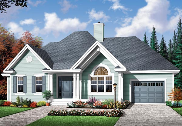 Bungalow Country One-Story Elevation of Plan 64895