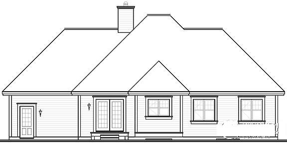 Bungalow Country One-Story Rear Elevation of Plan 64895