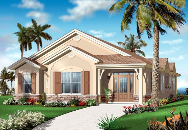 Florida, Mediterranean, Narrow Lot, One-Story House Plan 64899 with 4 Beds, 3 Baths, 2 Car Garage Elevation