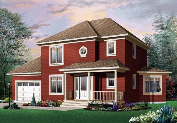 House Plan 64900 | Country Traditional Style Plan with 1662 Sq Ft, 3 Bedrooms, 2 Bathrooms, 1 Car Garage Elevation