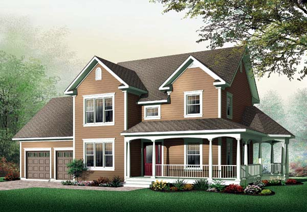 Country , Farmhouse , Traditional House Plan 64901 with 3 Beds, 2 Baths, 2 Car Garage Elevation