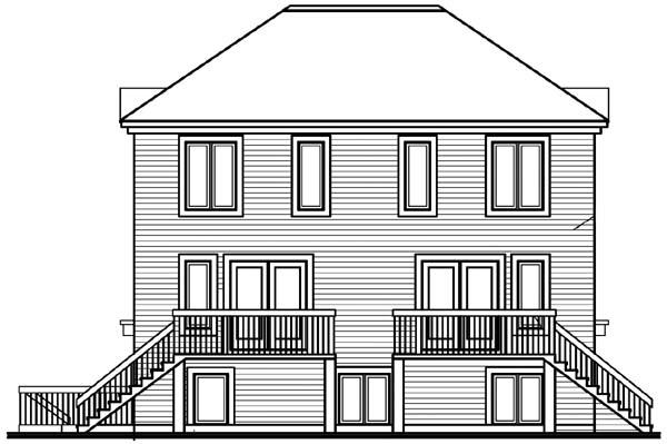 Multi-Family Plan 64905 Rear Elevation