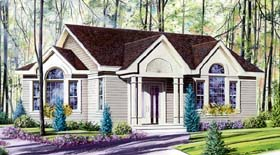 House Plan 64911 | Bungalow Contemporary Style Plan with 1098 Sq Ft, 2 Bedrooms, 1 Bathrooms Elevation