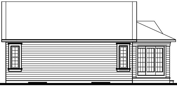 House Plan 64911 | Bungalow Contemporary Style Plan with 1098 Sq Ft, 2 Bedrooms, 1 Bathrooms Rear Elevation