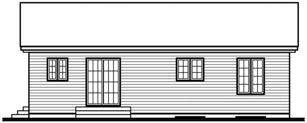 One-Story Traditional Rear Elevation of Plan 64912