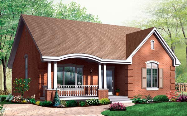 Bungalow, Country, One-Story House Plan 64914 with 2 Beds, 1 Baths Elevation