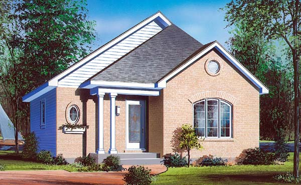 Bungalow , Contemporary House Plan 64915 with 2 Beds, 1 Baths Elevation