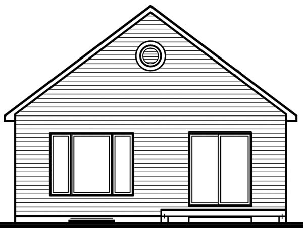 Bungalow , Contemporary , Rear Elevation of Plan 64915