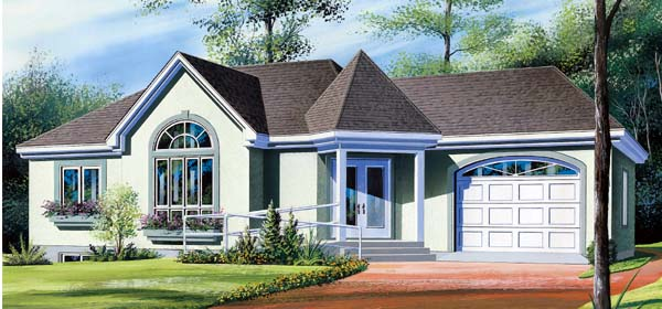 Bungalow Contemporary One-Story Elevation of Plan 64918