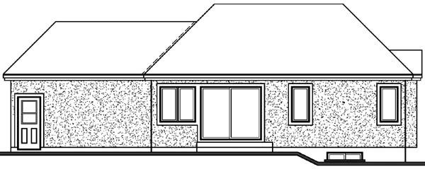 Bungalow Contemporary One-Story Rear Elevation of Plan 64918