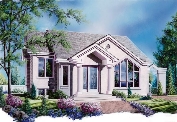 Bungalow, Contemporary, European, One-Story House Plan 64920 with 2 Beds, 1 Baths Elevation