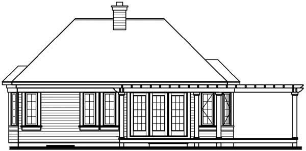 House Plan 64922 Rear Elevation