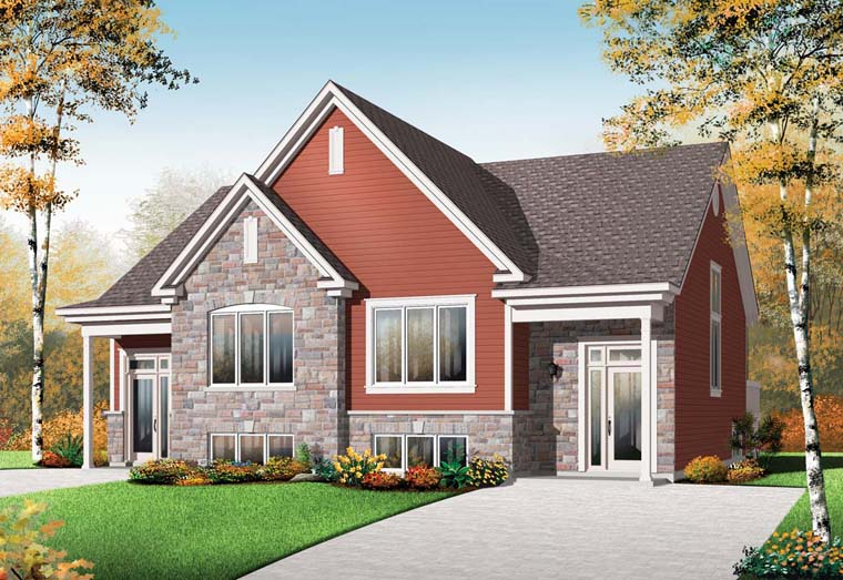 Craftsman Multi-Family Plan 64923 with 6 Beds, 4 Baths Front Elevation