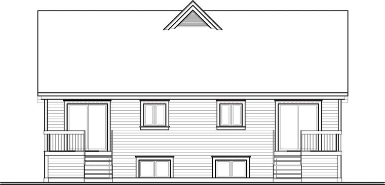 Craftsman Rear Elevation of Plan 64923