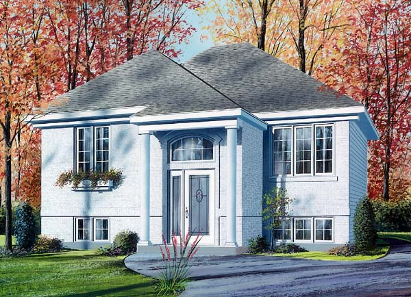 House Plan 64924 with 2 Beds, 1 Baths Elevation
